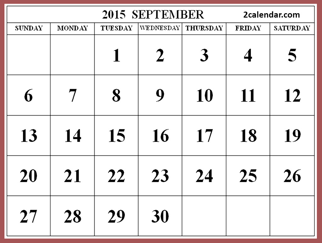 Clipart calendar october 2015 transparent download Clipart of september 2015 calendar - ClipartFest transparent download