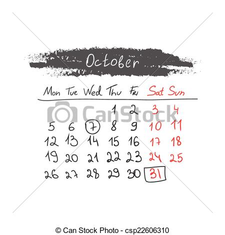 Clipart calendar october 2015 graphic library library Vector Clip Art of Handdrawn calendar October 2015. Vector ... graphic library library