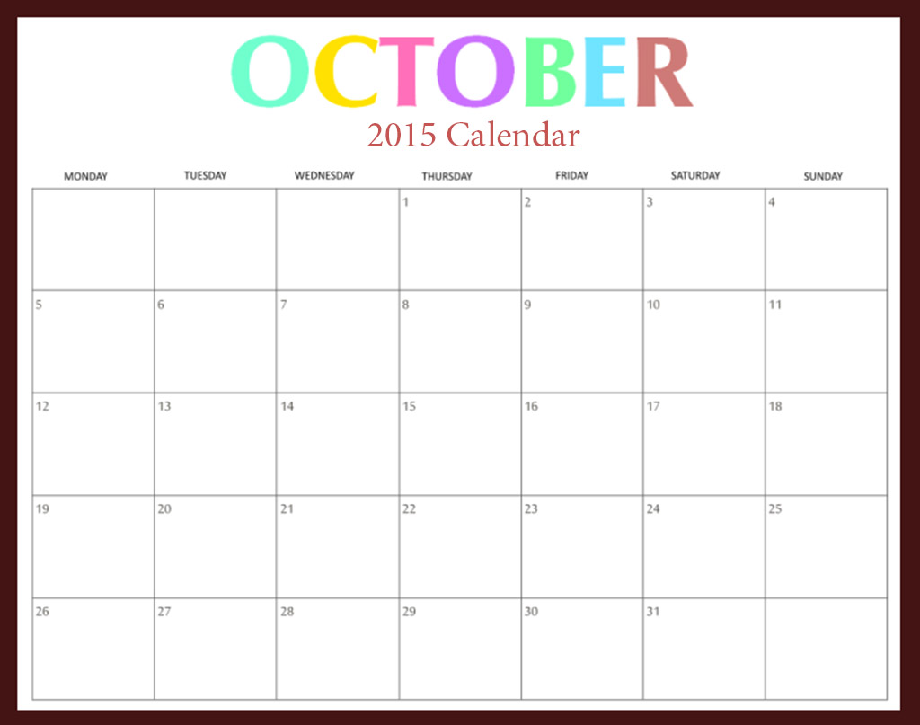 Clipart calendar october 2015 transparent October 2015 calendar clipart - ClipartFox transparent