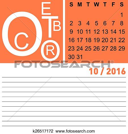 Of k search clip. Clipart calendar october 2016