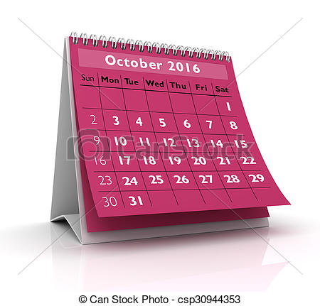 Stock illustrations of in. Clipart calendar october 2016