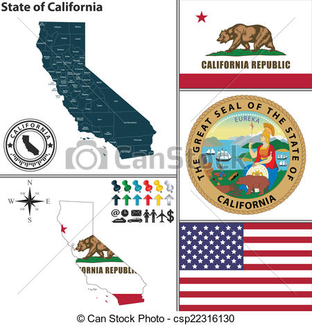 Clipart california map svg black and white library Vectors of Map of state California, USA - Vector set of California ... svg black and white library