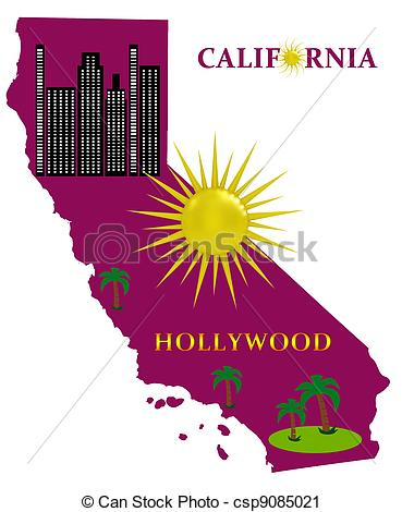 Clipart california map image transparent library Clipart of Map of California with sunshine and palm trees ... image transparent library
