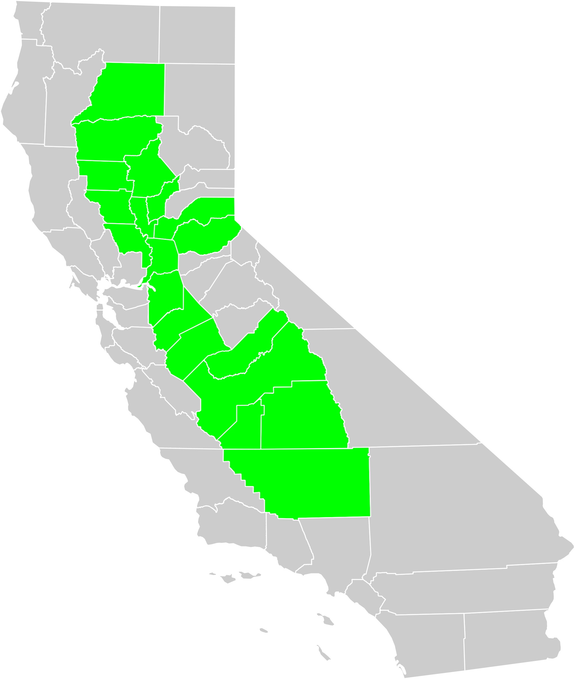 Clipart california map clip black and white stock File:California Central Valley county map.svg - Wikimedia Commons clip black and white stock