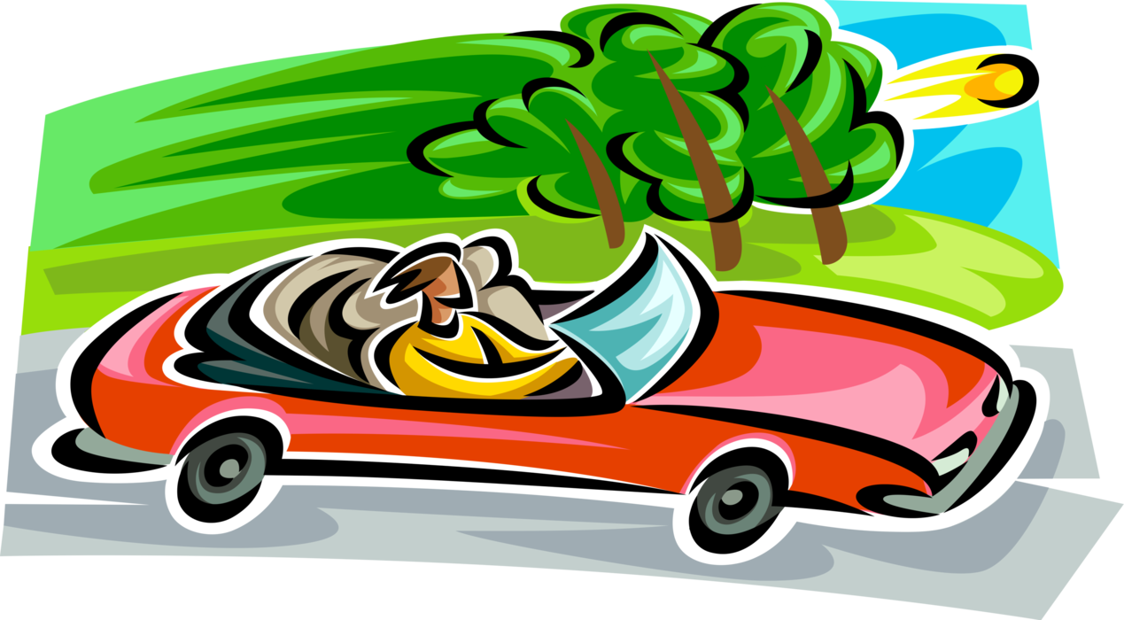 Clipart car driving on road jpg black and white Convertible Automobile Cruises Road - Vector Image jpg black and white