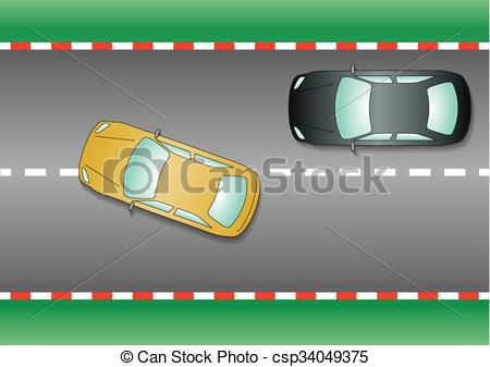 Clipart car from above. Vectors illustration of yellow