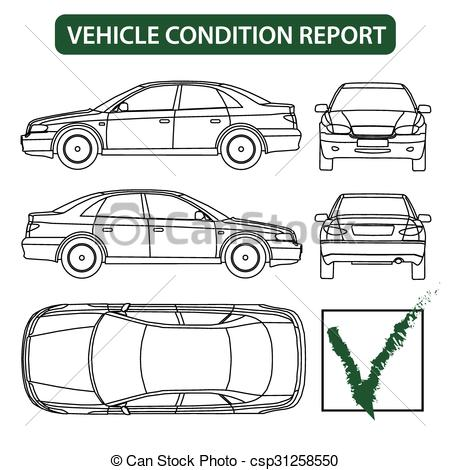 Clipart car inspection sheet jpg transparent download Clipart Vector of Vehicle condition report (car checklist, auto ... jpg transparent download