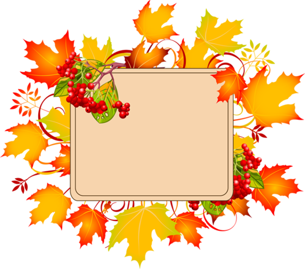 Clipart card border thanksgiving png free library cadre - frame - autumn frame - automne - leaves | Levélpapír, díszek ... png free library