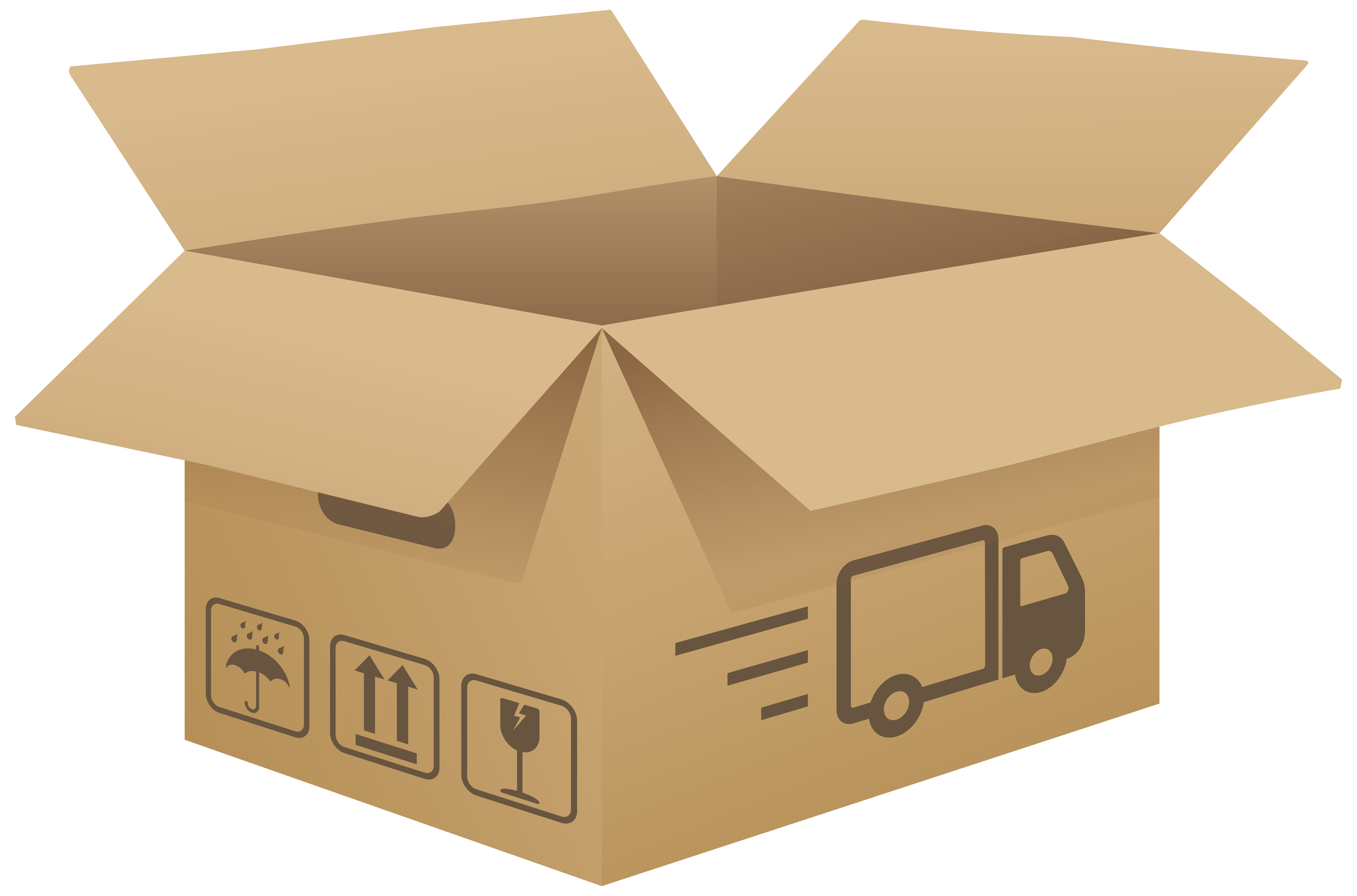 Clipart cardboard box banner transparent library Open Cardboard Box PNG Clip Art Image - Best WEB Clipart banner transparent library