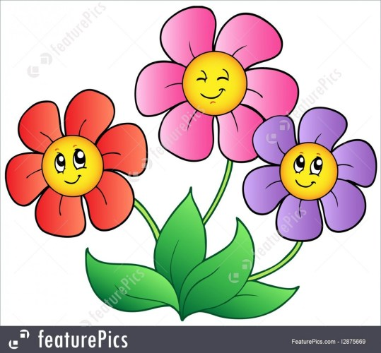 Clipart cartoon flowers graphic royalty free Illustration Of Three Cartoon Flowers – 3 flowers clipart graphic royalty free