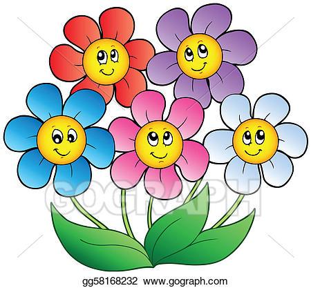 Clipart cartoon flowers clipart transparent library Vector Illustration - Five cartoon flowers. EPS Clipart gg58168232 ... clipart transparent library