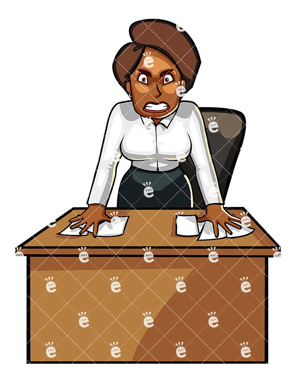Clipart cartoon frustrated success picture free library Black Business Woman Standing Angrily Behind Her Desk | Black ... picture free library