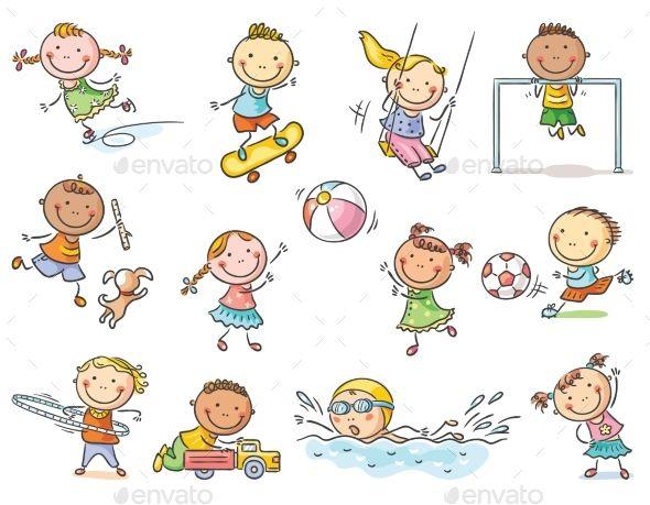 Kids activities clipart clip art transparent stock Set of Cartoon Kids Outdoor Activities #Cartoon, #Set, #Kids ... clip art transparent stock