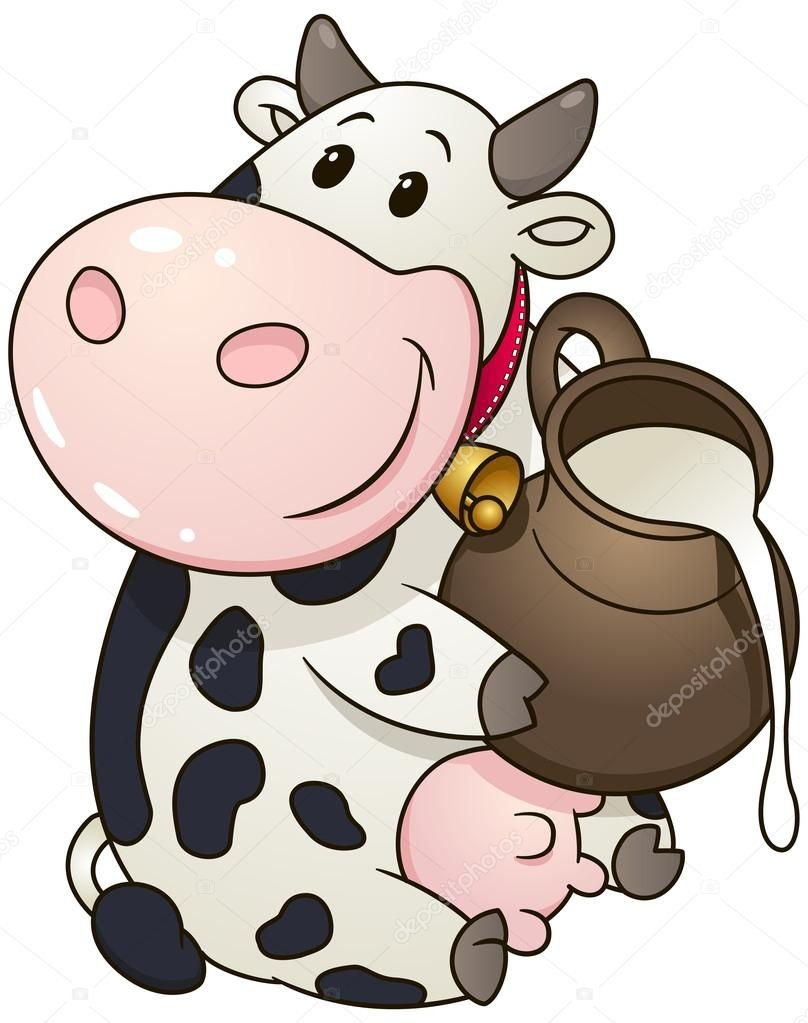 Clipart cartoon skin milk clipart download Download royalty-free Cartoon chubby cow with jug of milk. Vector ... clipart download