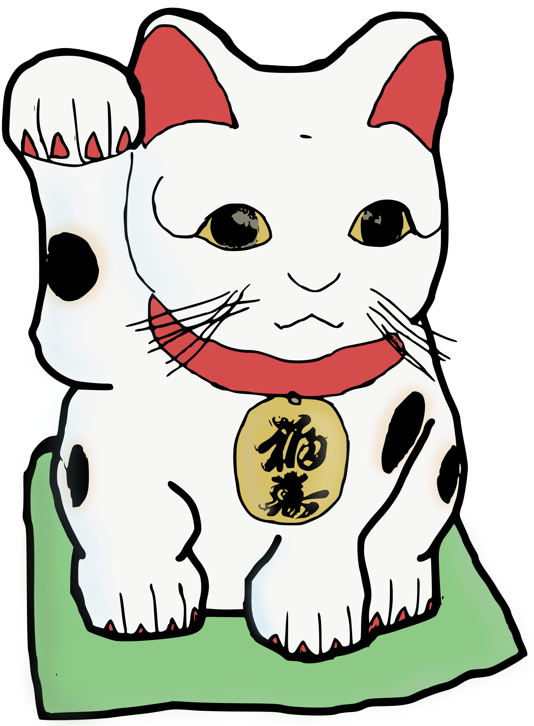 Clipart cat with money graphic black and white download Clipart - Maneki Neko - Colour graphic black and white download