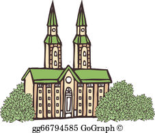 Clipart cathedral clipart black and white Cathedral Clip Art - Royalty Free - GoGraph clipart black and white