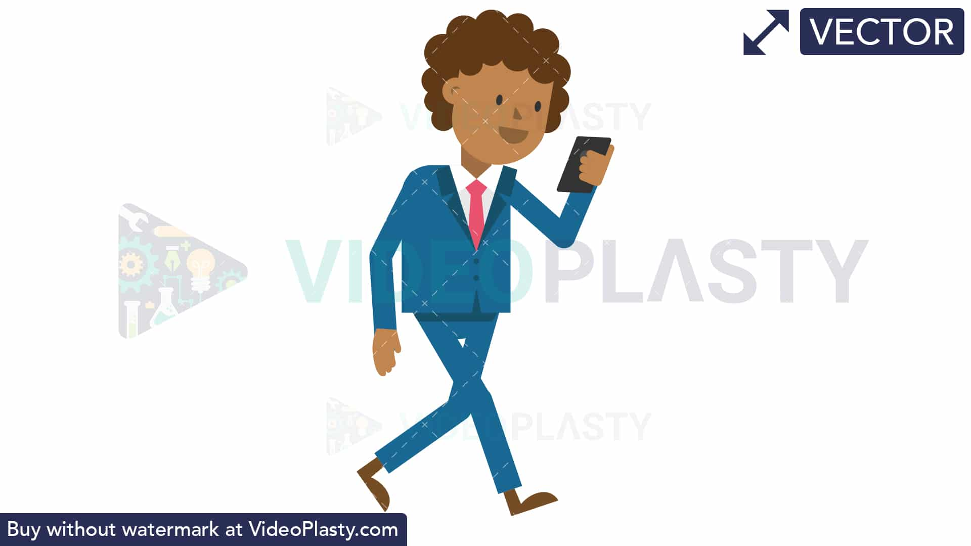 Clipart cell phone man clip art free library Black Corporate Man Walking Looking at His Cellphone [VECTOR] clip art free library
