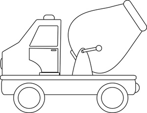 Clipart cement mixer black and white banner free Cement Mixer Clipart Image - Drawing of a cartoon cement mixer toy truck banner free
