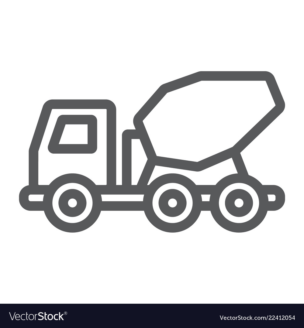 Clipart cement mixer black and white graphic free library Concrete mixer truck line icon transport graphic free library