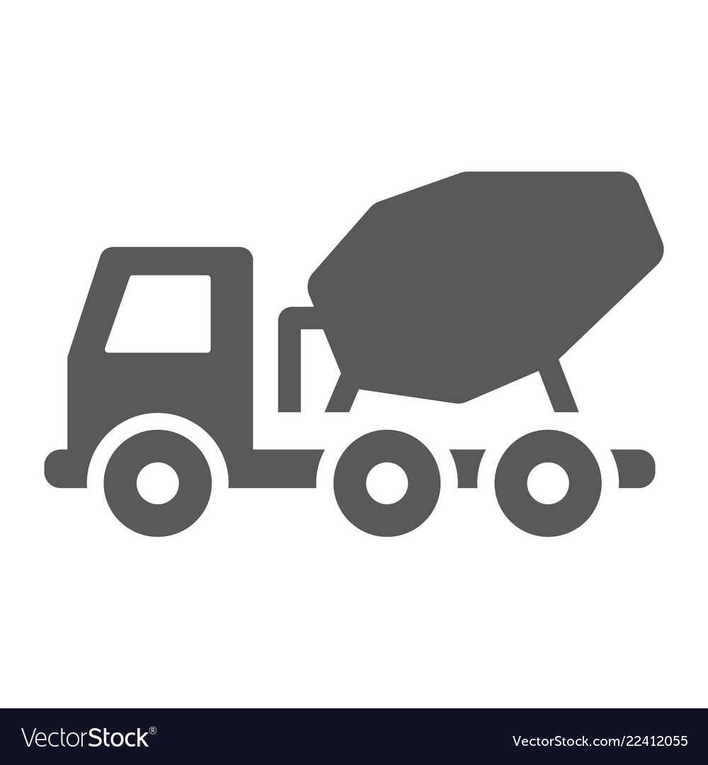 Clipart cement mixer black and white banner free download Concrete mixer truck glyph icon transport vector image banner free download