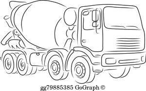 Clipart cement mixer black and white banner transparent download Concrete Mixer Clip Art - Royalty Free - GoGraph banner transparent download