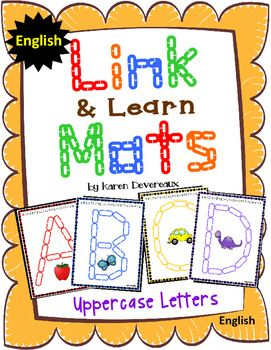 Clipart chain links manipulatives clip library library Alphabet Mats for Links - ENGLISH Uppercase (Playdough Alternative ... clip library library