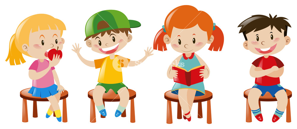 Clipart chair boy sitting graphic free library Boys and girls sitting on chairs illustration Royalty-Free Stock ... graphic free library