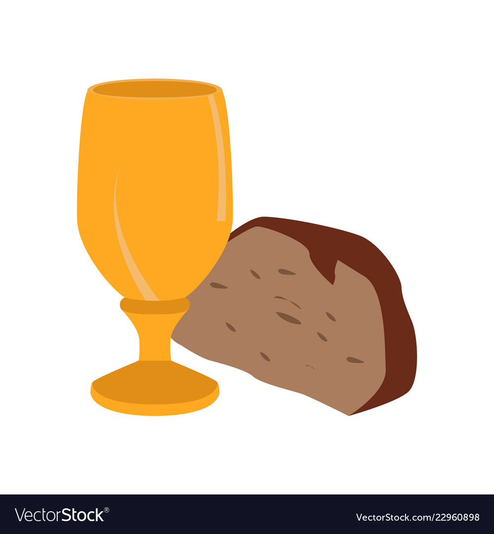 Clipart chalice and bread black and white stock Chalice with bread piece black and white stock