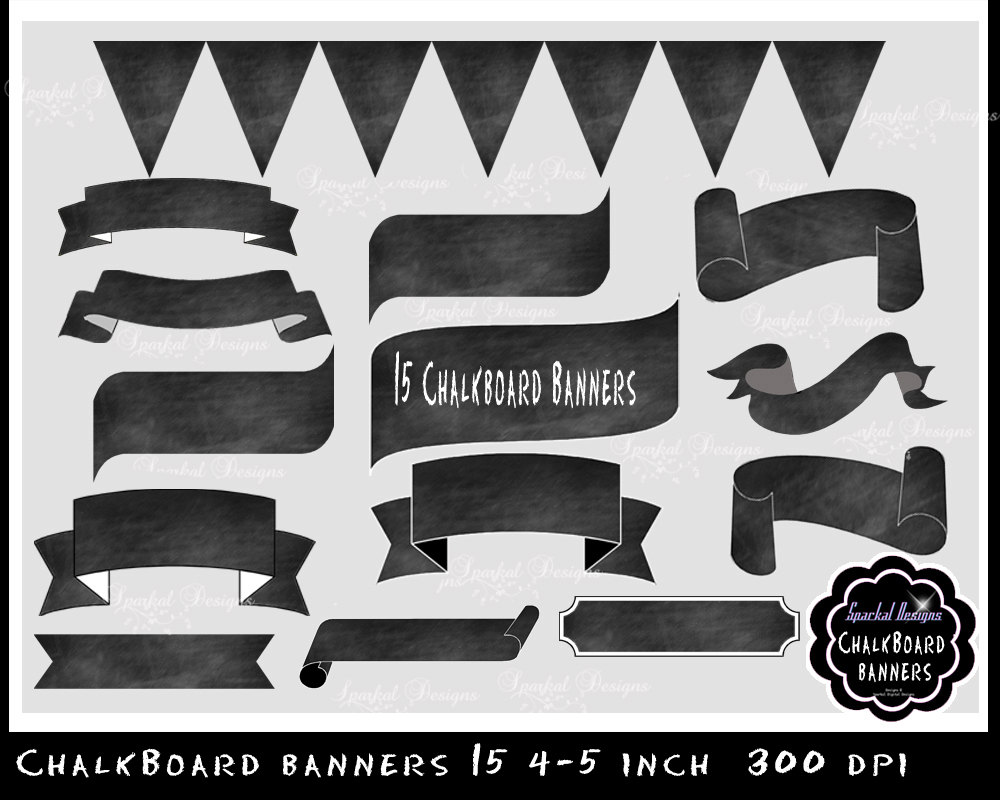 Clipart chalkboard banners black and white stock Chalkboard Banner chalkboard Flourishes Clip Art chalkboard black and white stock