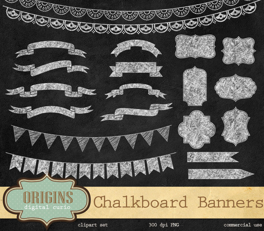Clipart chalkboard banners clip freeuse download Chalkboard Banners PNG Clipart by OriginsDigitalCurio on DeviantArt clip freeuse download
