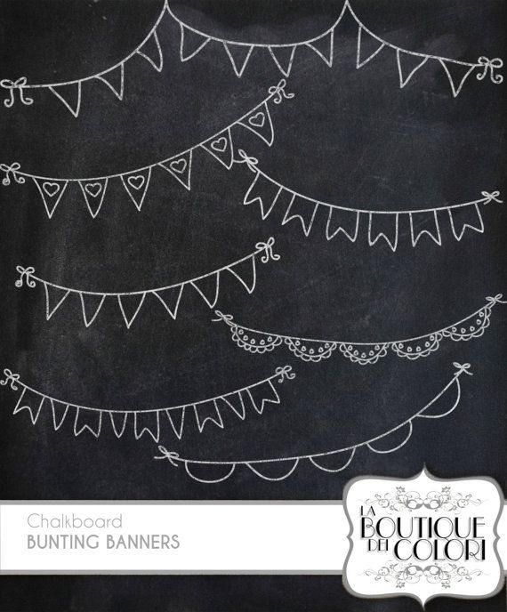 Clipart chalkboard banners png black and white download Chalkboard Bunting Banners doodle cliparts Digital Clip Art. Party ... png black and white download