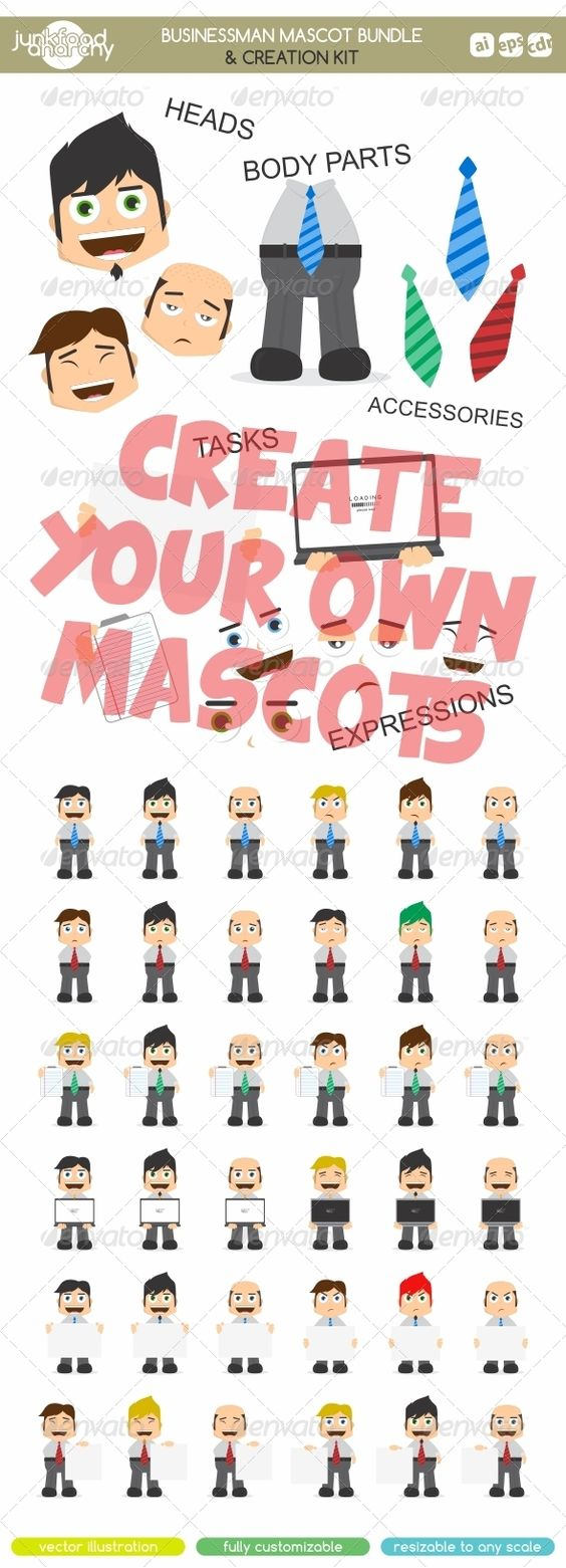 Clipart character creator banner download Businessman Mascot Bundle & Creation Kit | Vector1st Portfolio ... banner download