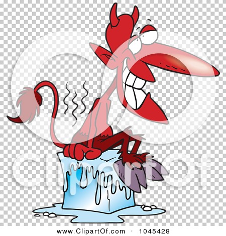 Clipart character in a block of ice png royalty free stock Royalty-Free (RF) Clip Art Illustration of a Cartoon Devil Cooling ... png royalty free stock