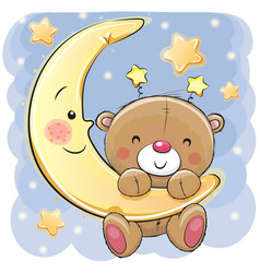 Clipart child in bed with moonlight png black and white library Teddy Bear Sleeping on Moon Vector Images (over 230) png black and white library