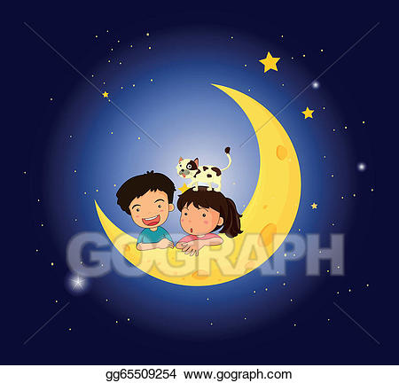 Clipart child in bed with moonlight transparent library Vector Clipart - Children on the moon with a cat. Vector ... transparent library