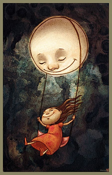 Clipart child in bed with moonlight jpg royalty free library Pin by Angie Neilson on art | Moon art, Art, Illustration art jpg royalty free library