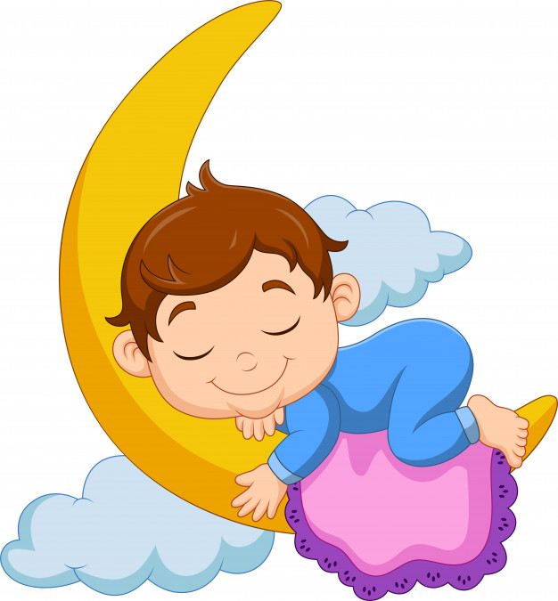 Clipart child in bed with moonlight png royalty free download Cartoon baby boy sleeping on the moon Vector | Premium Download png royalty free download