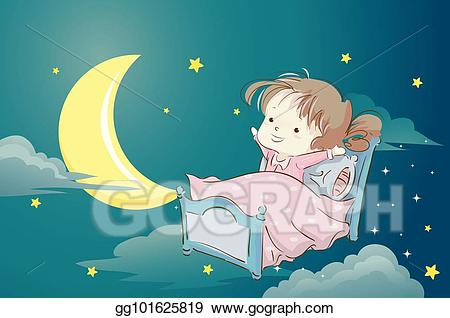 Clipart child in bed with moonlight clip art black and white Vector Illustration - Kid girl pajama bed dream. EPS Clipart ... clip art black and white