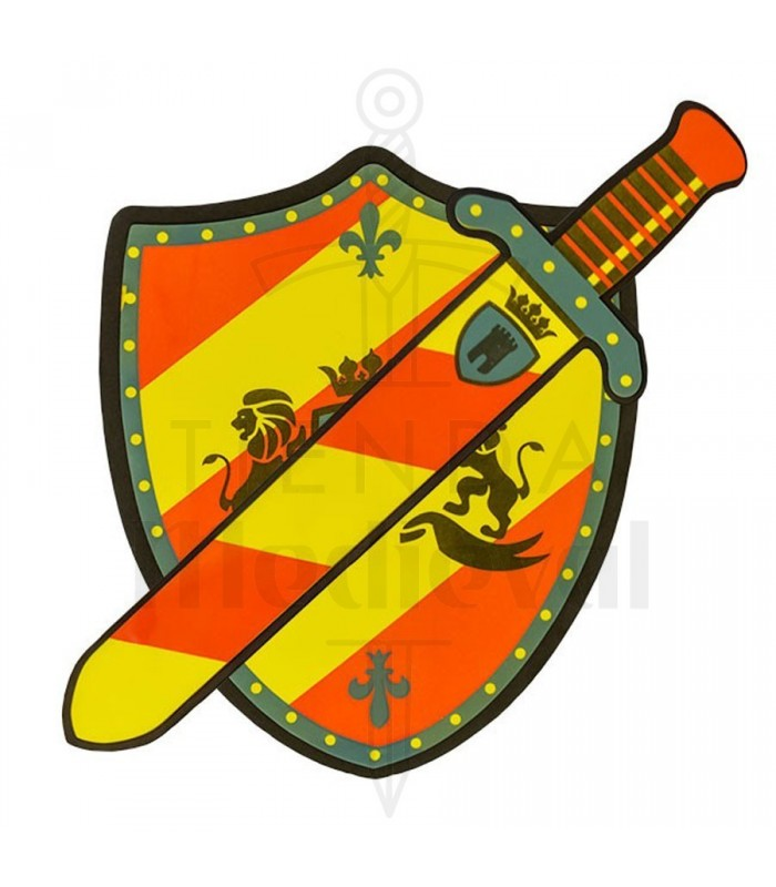 Clipart child protected from arrows with shield graphic black and white library Kit shield and sword tournament for children graphic black and white library
