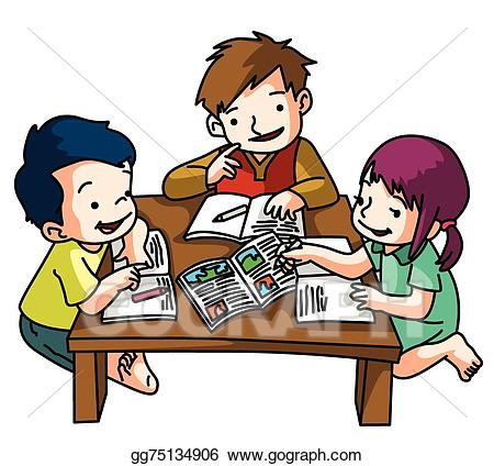 Clipart child studying svg freeuse stock Vector Stock - Kids studying together. Clipart Illustration ... svg freeuse stock