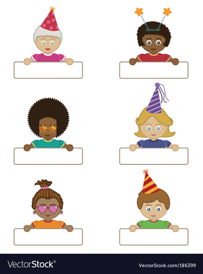 Kid holding price tag clipart image library Party children holding name tags image library