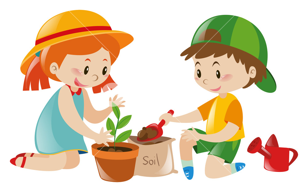 Clipart children pot clip art freeuse stock Two kids playing tree in pot illustration Royalty-Free Stock Image ... clip art freeuse stock