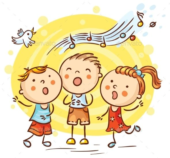 Clipart children sing together graphic freeuse library Happy children singing songs, colorful cartoon, vector | Website ... graphic freeuse library