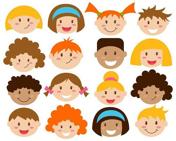 Clipart childrens faces banner freeuse library Kids Faces Digital Clipart Cute Kids Clip Art Children Head | CLIPART banner freeuse library