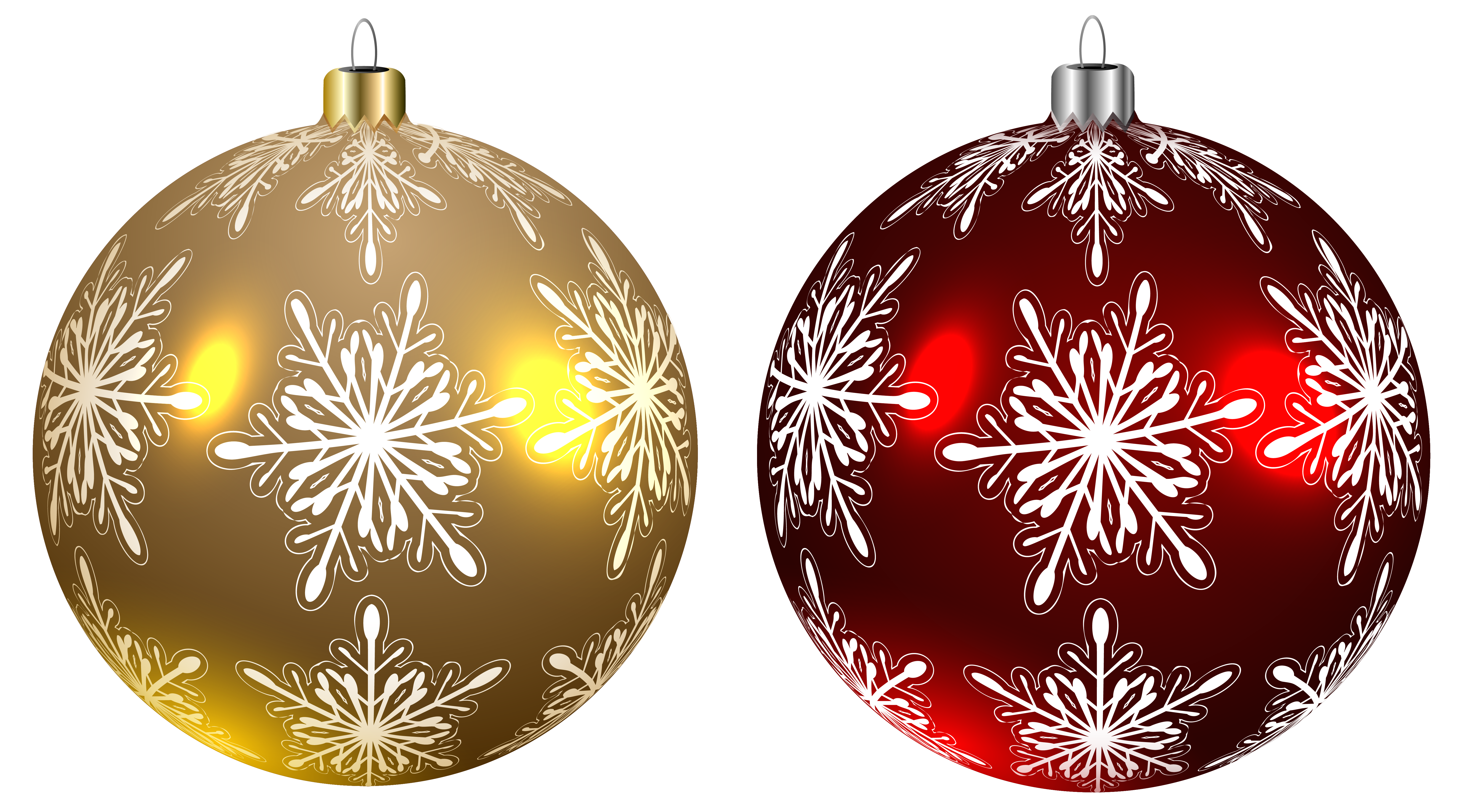 Clipart christmas banner red snowflake jpg freeuse download Christmas Balls Yellow and Red Transparent PNG Clipart Image ... jpg freeuse download