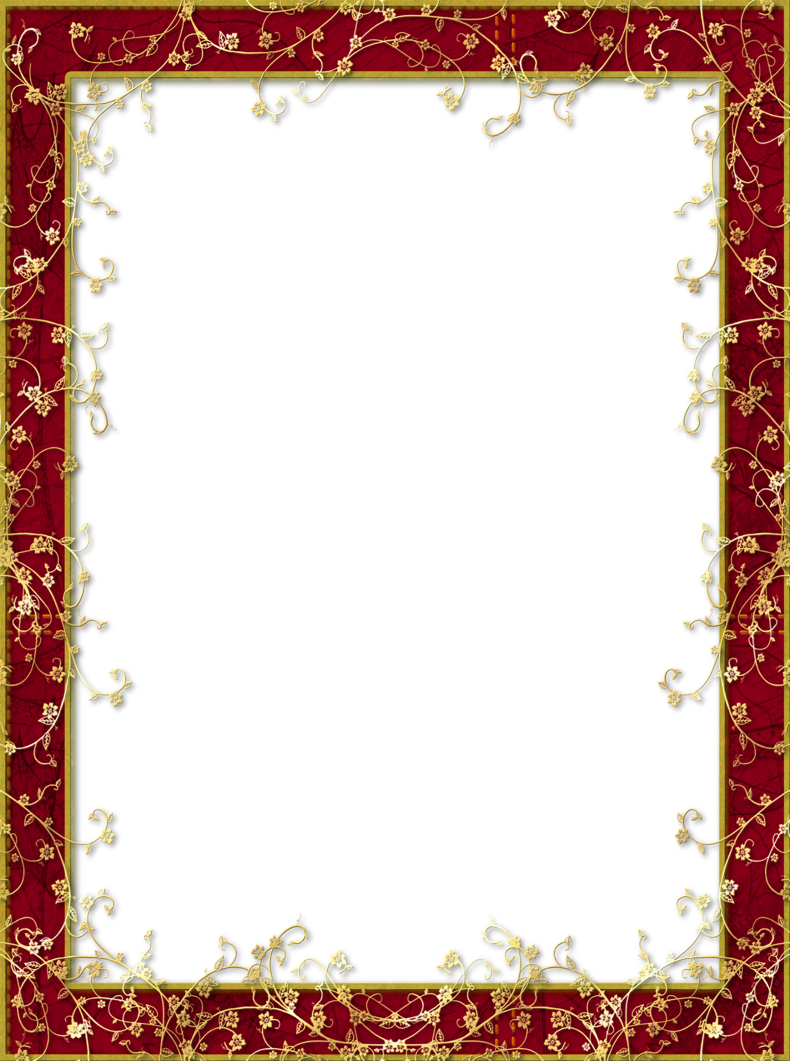 Clipart christmas borders free printable png free library Red Transparent PNG Frame with Gold Flowers | classic frames png ... png free library
