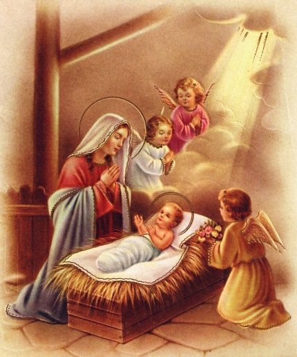 Clipart christmas borders mary baby jesus image free download Vintage Christmas Card Angels Mary and Baby Jesus by PaperPrizes ... image free download