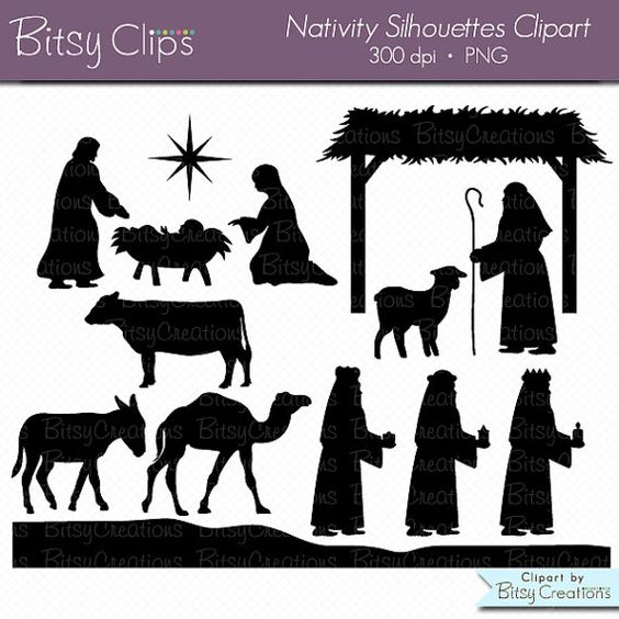 Clipart christmas borders mary baby jesus. Nativity silhouettes digital art