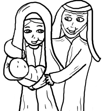 Clipart christmas borders mary baby jesus. In manger clip art