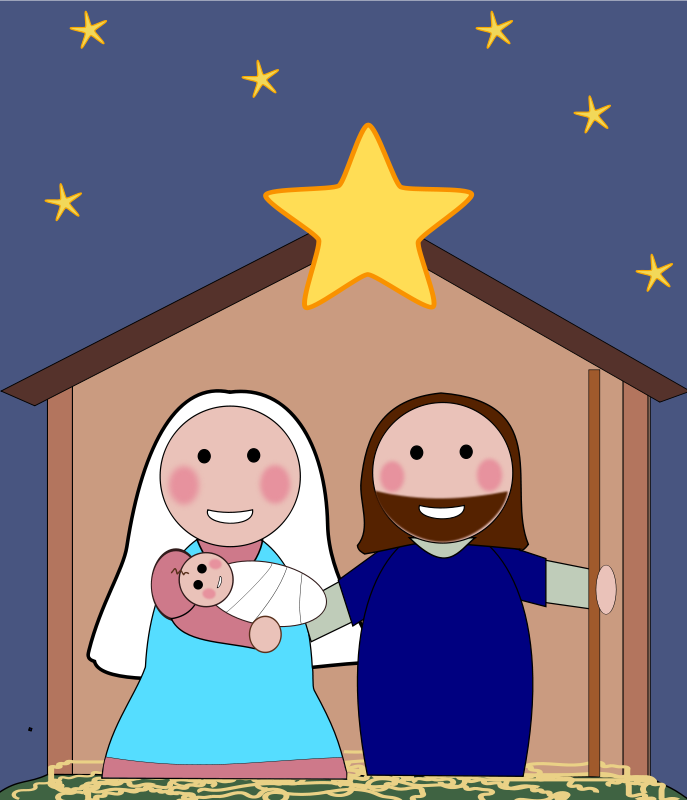 Religious free holiday graphics. Clipart christmas borders mary baby jesus